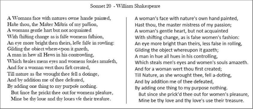shekespeare sonnet 20