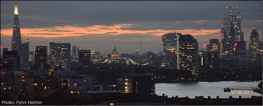 London UK Skyline at Dusk
