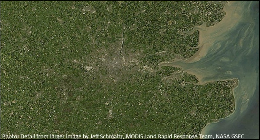 Nasa Satelite Image of London UK