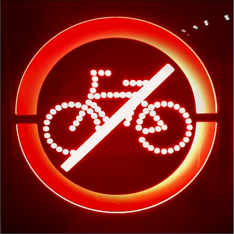 Bike ban sign